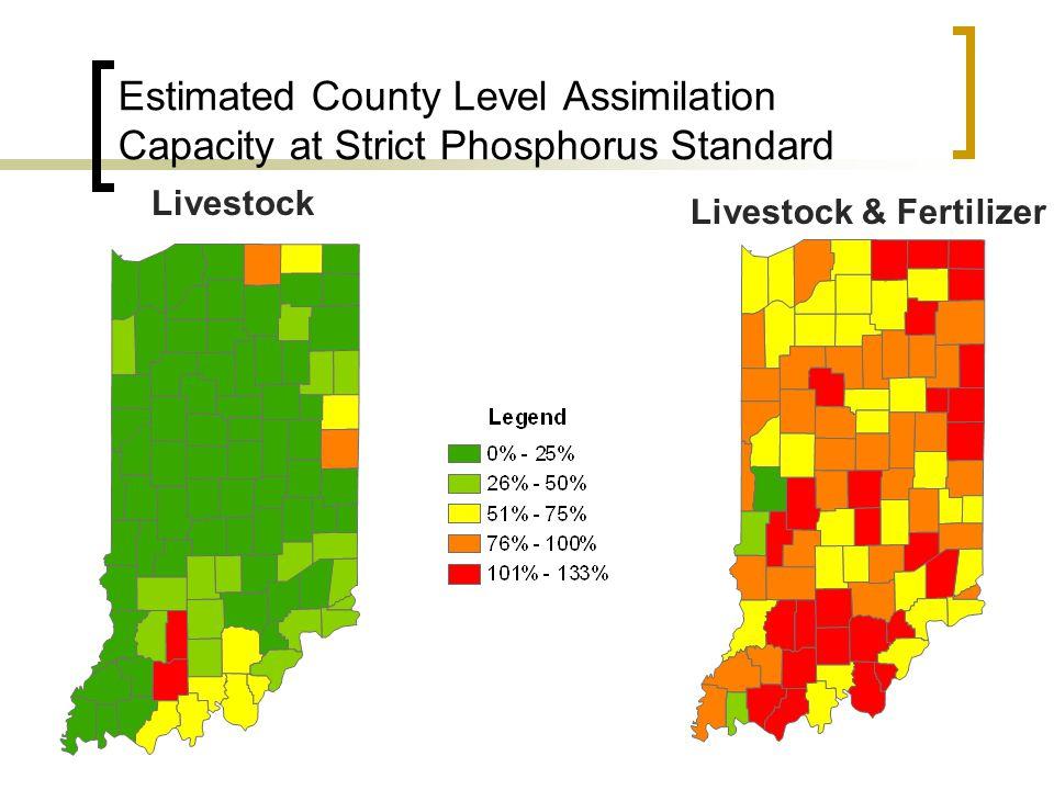 Estimated County Level Assimilation Capacity at Strict Phosphorus Standard Livestock Livestock & Fertilizer