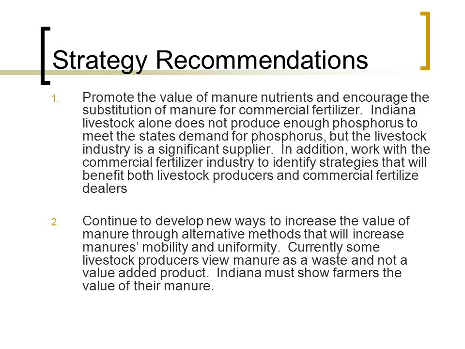 Strategy Recommendations 1.