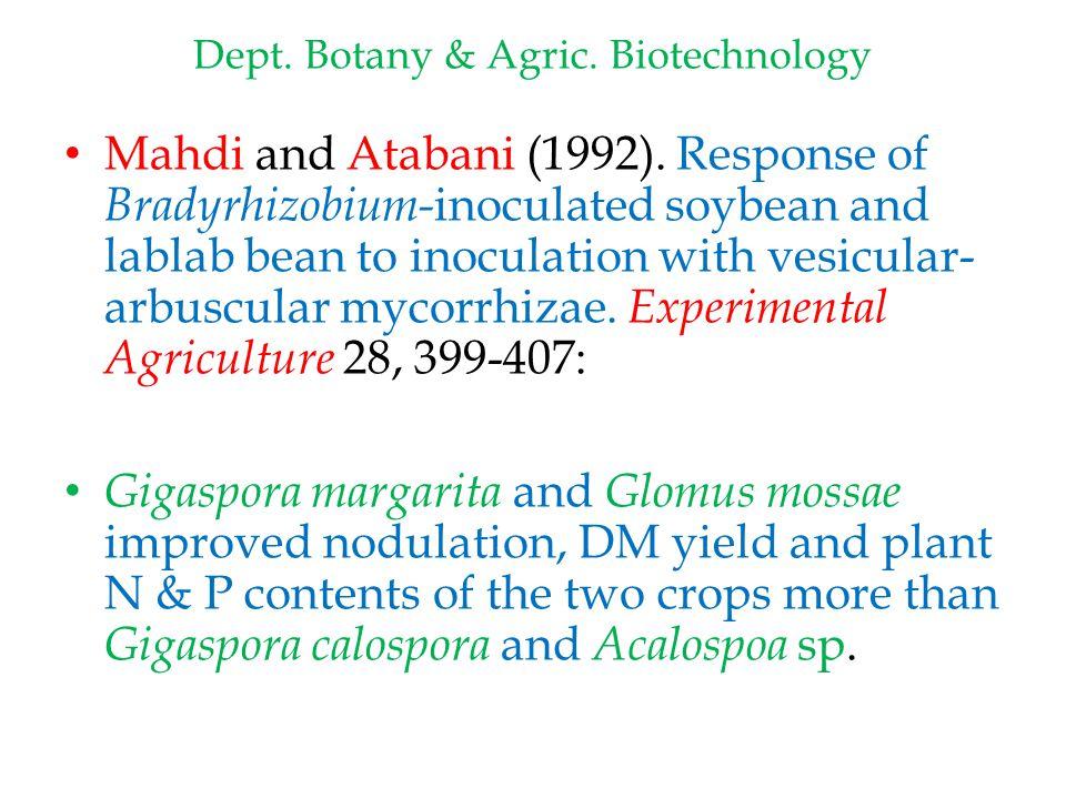Dept. Botany & Agric. Biotechnology Mahdi and Atabani (1992).