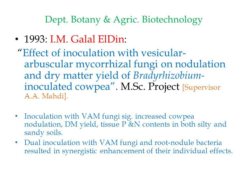 Dept.Botany & Agric. Biotechnology 1993: I.M.