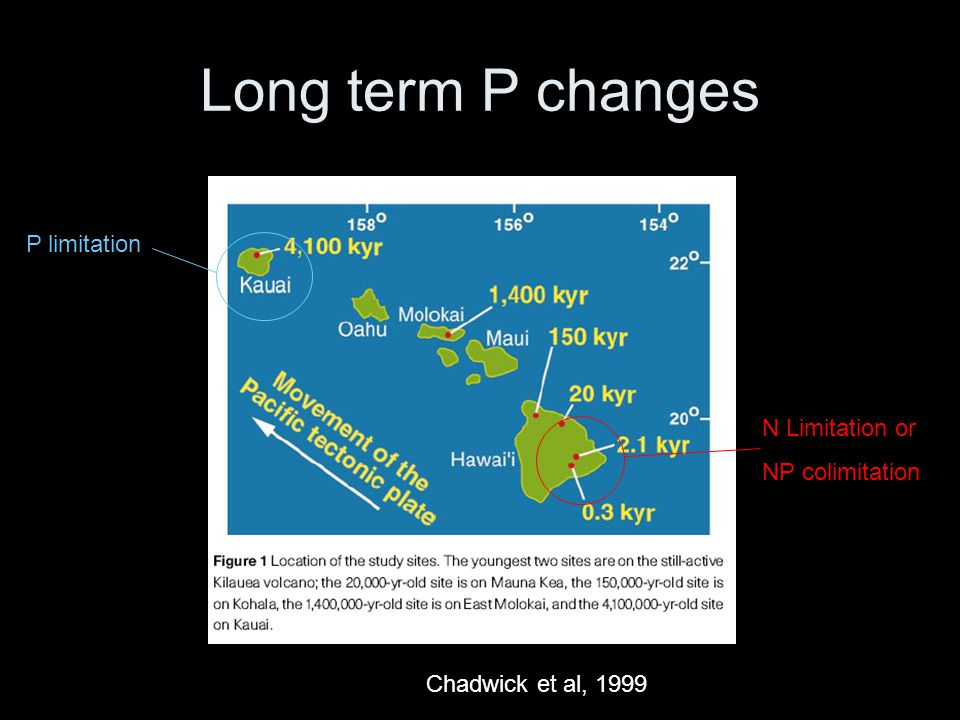 Long term P changes Chadwick et al, 1999 N Limitation or NP colimitation P limitation