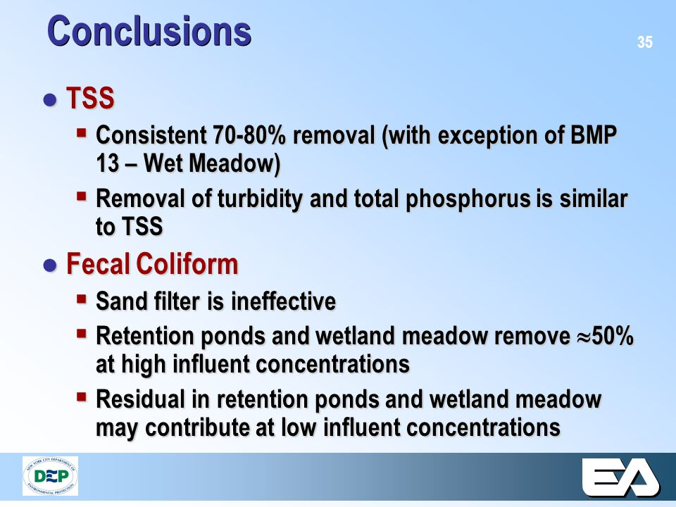 35 Conclusions ● TSS  Consistent 70-80% removal (with exception of BMP 13 – Wet Meadow)  Removal of turbidity and total phosphorus is similar to TSS