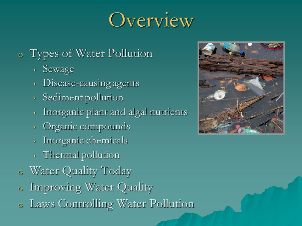Industrial Wastes in Water o Different industries generate different pollutants Food processing plants- high BOD Food processing plants- high BOD Paper mills- High BOD and toxic compounds Paper mills- High BOD and toxic compounds o Many industries recover toxins before they go into the waste stream