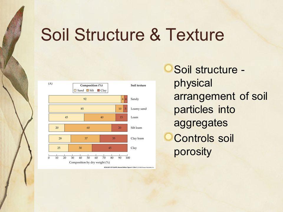 Soil Structure & Texture Soil structure - physical arrangement of soil particles into aggregates Controls soil porosity