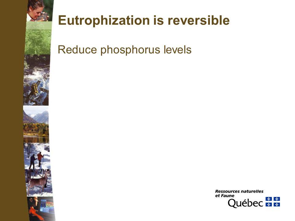 15 Eutrophization is reversible Reduce phosphorus levels