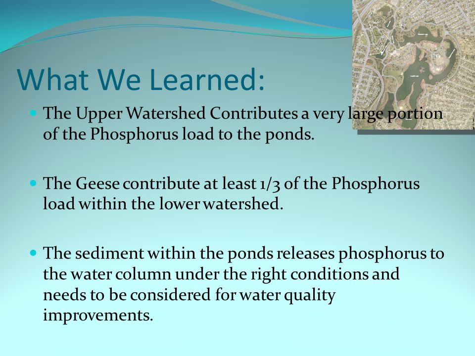 What We Learned: The Upper Watershed Contributes a very large portion of the Phosphorus load to the ponds.