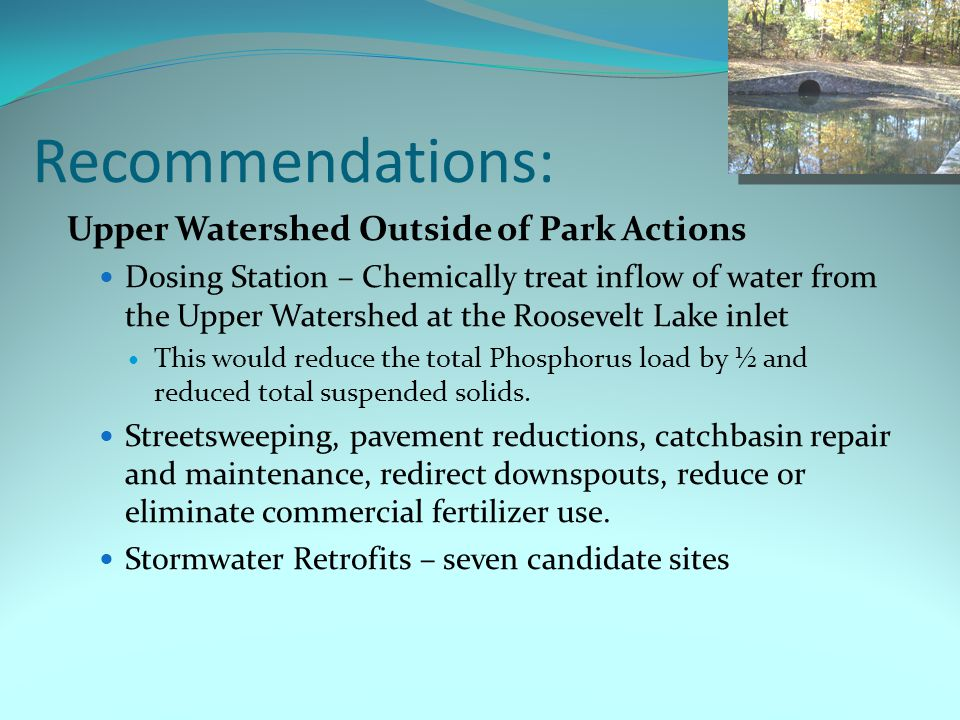 Recommendations: Upper Watershed Outside of Park Actions Dosing Station – Chemically treat inflow of water from the Upper Watershed at the Roosevelt Lake inlet This would reduce the total Phosphorus load by ½ and reduced total suspended solids.