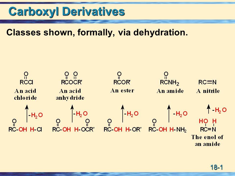 18-42 Synthesis: Grignards + Nitriles ->ketone 2 RCNR MgX RCR NMgX H2OH2OH2OH2O RCR NHNHNHNH diethyl ether RCR O H3O+H3O+H3O+H3O+ Imines hydrolyzed to ketones.