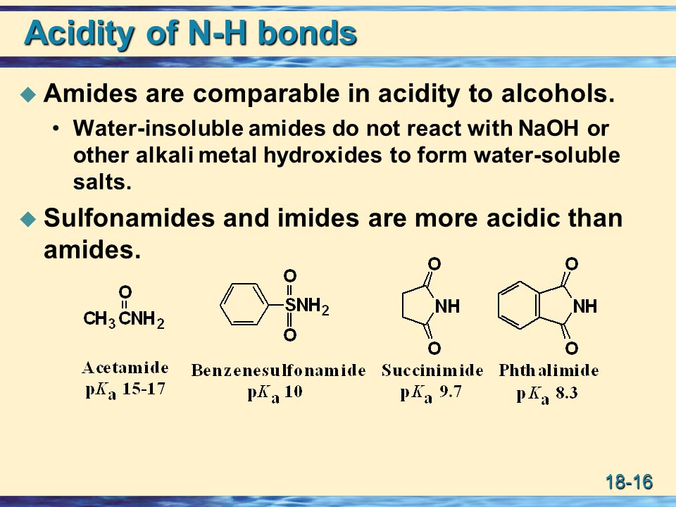 18-16 Acidity of N-H bonds  Amides are comparable in acidity to alcohols. Water-insoluble amides do not react with NaOH or other alkali metal hydroxi