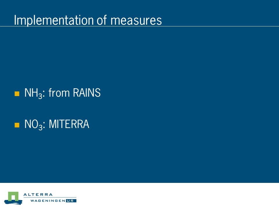Implementation of measures NH 3 : from RAINS NO 3 : MITERRA