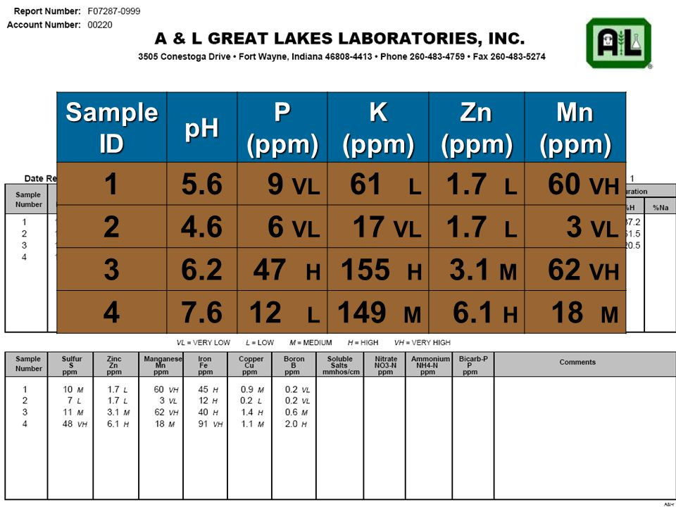 Soil Test Unit Very Low LowMediumHigh Very High pH0.0 - 5.05.1 - 5.85.9 - 6.97.0 - 7.57.6+ Organic Matter%0.0 - 0.91.0 - 2.52.6 - 4.95.0 - 6.97.0+ Phosphorus (P1)ppm0 - 910 - 1920 - 2930 - 4950+ Potassium%0.0 - 0.70.8 - 1.41.5 - 2.62.7 - 4.04.1+ Magnesium%0.0 - 5.05.1 - 10.010.1 - 15.015.1 - 25.025.1+ Calcium%0.0 - 45.045.1 - 55.055.1 - 75.075.1 - 85.085.1+ Sulfur (S)ppm0 - 34 - 78 - 1213 - 1718+ Zinc (Zn)ppm0.0 - 0.91.0 - 2.93.0 - 4.95.0 - 10.010.1+ Manganese (Mn)ppm0 - 56 - 1415 - 2930 - 4950+ Iron (Fe)ppm0 - 45 - 910 - 5051+ Copper (Cu)ppm0.0 - 0.40.5 - 1.11.2 - 3.03.1+ Boron (B)ppm0.0 - 0.30.4 - 0.50.6 - 1.21.3 - 2.52.6+ Soil Test Ratings