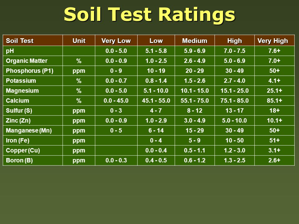 Soil Test Unit Very Low LowMediumHigh Very High pH0.0 - 5.05.1 - 5.85.9 - 6.97.0 - 7.57.6+ Organic Matter%0.0 - 0.91.0 - 2.52.6 - 4.95.0 - 6.97.0+ Phosphorus (P1)ppm0 - 910 - 1920 - 2930 - 4950+ Potassium%0.0 - 0.70.8 - 1.41.5 - 2.62.7 - 4.04.1+ Magnesium%0.0 - 5.05.1 - 10.010.1 - 15.015.1 - 25.025.1+ Calcium%0.0 - 45.045.1 - 55.055.1 - 75.075.1 - 85.085.1+ Sulfur (S)ppm0 - 34 - 78 - 1213 - 1718+ Zinc (Zn)ppm0.0 - 0.91.0 - 2.93.0 - 4.95.0 - 10.010.1+ Manganese (Mn)ppm0 - 56 - 1415 - 2930 - 4950+ Iron (Fe)ppm0 - 45 - 910 - 5051+ Copper (Cu)ppm0.0 - 0.40.5 - 1.11.2 - 3.03.1+ Boron (B)ppm0.0 - 0.30.4 - 0.50.6 - 1.21.3 - 2.52.6+ Soil Test Ratings