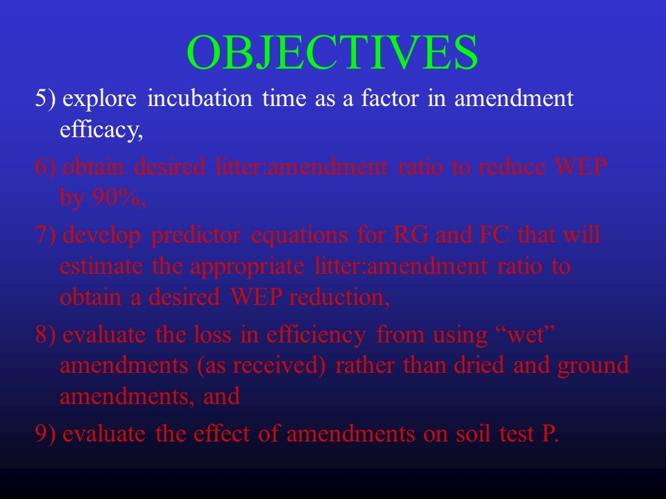 OBJECTIVES 1) determine that the amendments will sorb P, 2) determine the reduction in WEP from a) individual amendments b) different litter:amendment ratios and c) compared to alum, 3) evaluate pH and EC of amendments as a function of initial P concentration, 4) evaluate trace metals in amendments to estimate any risk in using the products.
