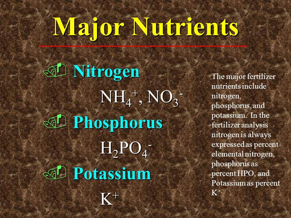 Major Nutrients.Nitrogen NH 4 +, NO 3 -.Phosphorus H 2 PO 4 -.Potassium K + The major fertilizer nutrients include nitrogen, phosphorus, and potassium