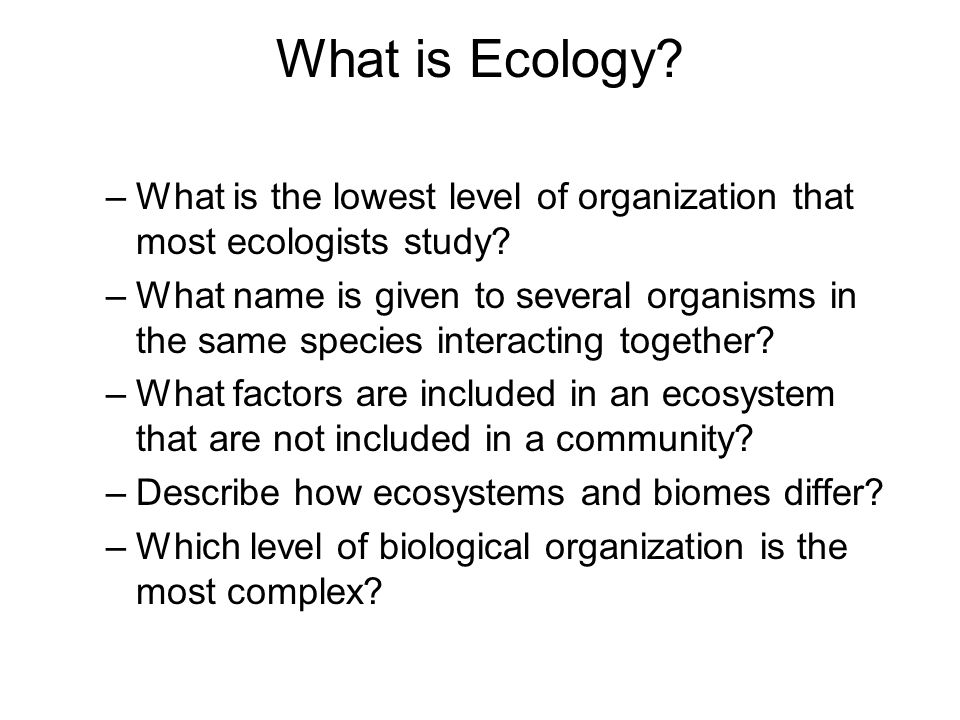 What is Ecology.–What is the lowest level of organization that most ecologists study.