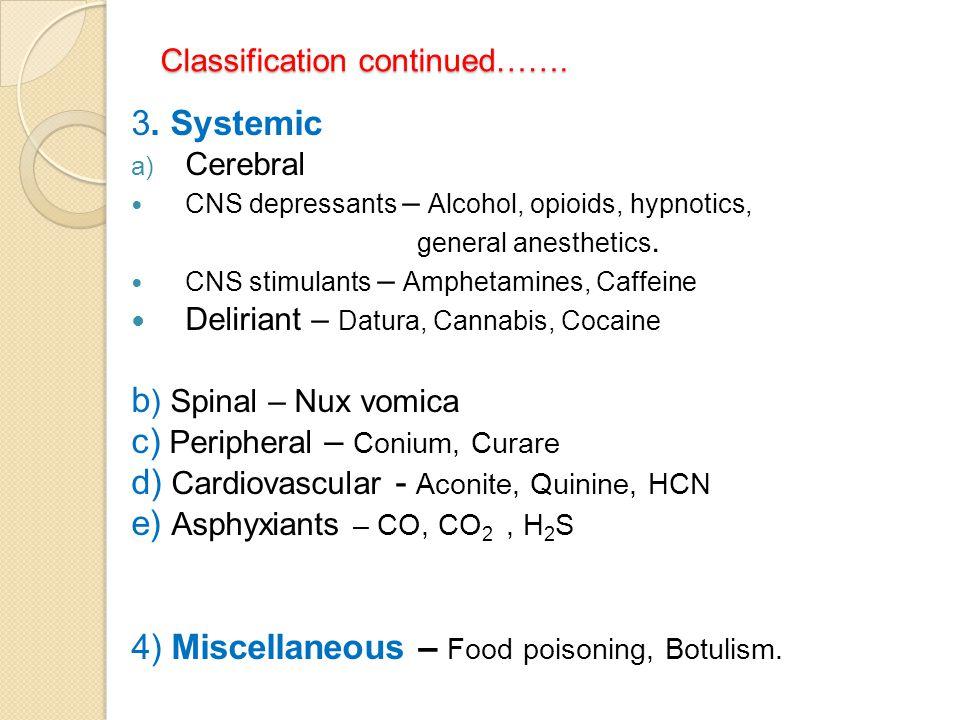 Classification continued……. 3. Systemic a) Cerebral CNS depressants – Alcohol, opioids, hypnotics, general anesthetics. CNS stimulants – Amphetamines,