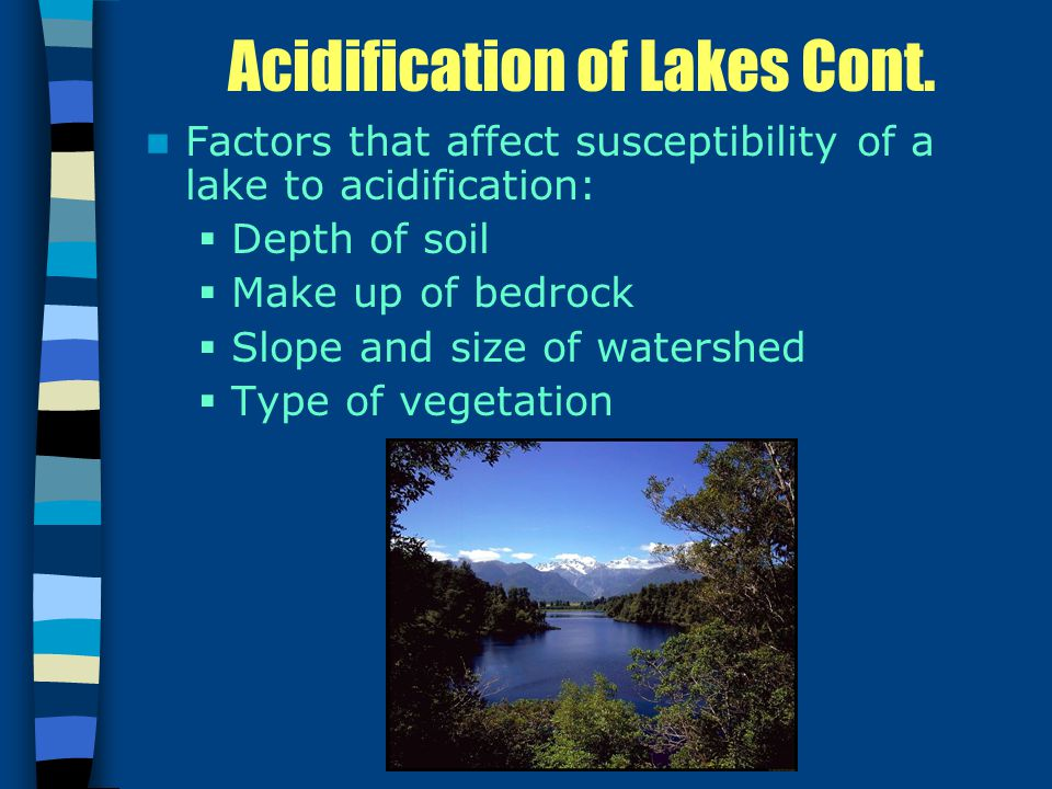 Acidification of Lakes Cont.