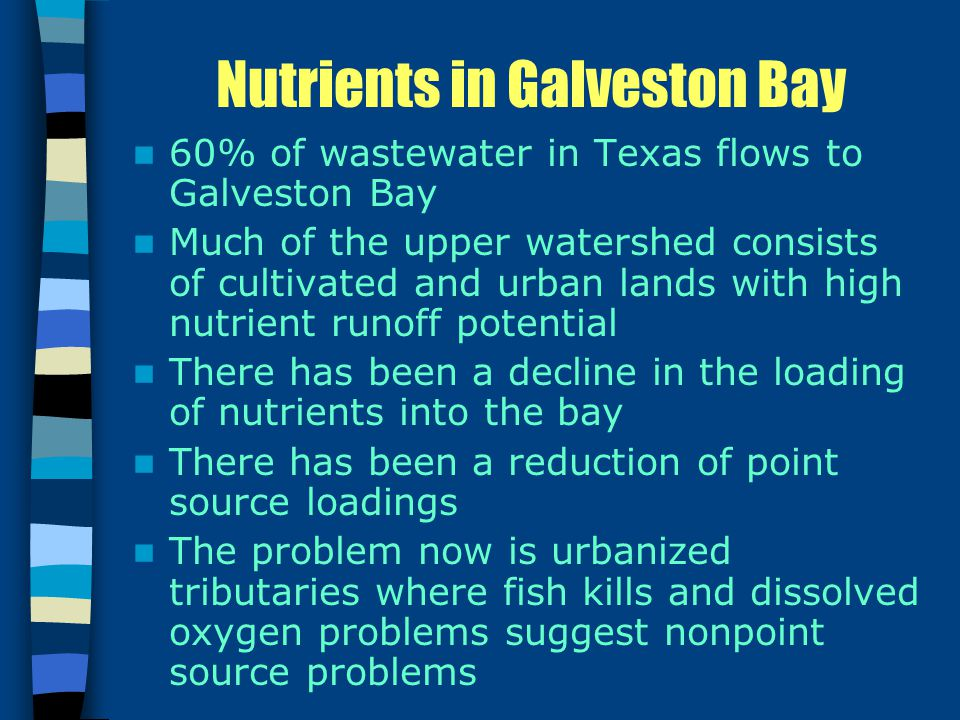 Nutrients in Galveston Bay 60% of wastewater in Texas flows to Galveston Bay Much of the upper watershed consists of cultivated and urban lands with high nutrient runoff potential There has been a decline in the loading of nutrients into the bay There has been a reduction of point source loadings The problem now is urbanized tributaries where fish kills and dissolved oxygen problems suggest nonpoint source problems