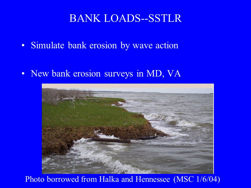 BANK LOADS--SSTLR Simulate bank erosion by wave action New bank erosion surveys in MD, VA Photo borrowed from Halka and Hennessee (MSC 1/6/04)