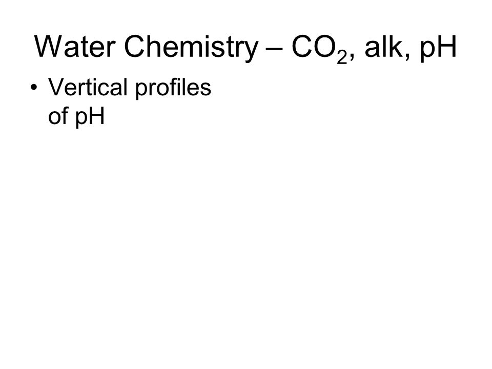 Water Chemistry – CO 2, alk, pH Vertical profiles of pH