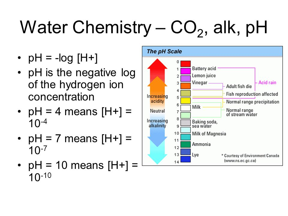 Water Chemistry – CO 2, alk, pH pH = -log [H+] pH is the negative log of the hydrogen ion concentration pH = 4 means [H+] = 10 -4 pH = 7 means [H+] = 10 -7 pH = 10 means [H+] = 10 -10