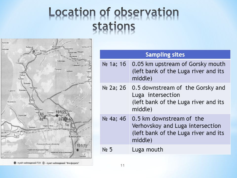 11 Sampling sites № 1а; 1б0.05 km upstream of Gorsky mouth (left bank of the Luga river and its middle) № 2а; 2б0.5 downstream of the Gorsky and Luga intersection (left bank of the Luga river and its middle) № 4а; 4б0.5 km downstream of the Verhovskoy and Luga intersection (left bank of the Luga river and its middle) № 5Luga mouth
