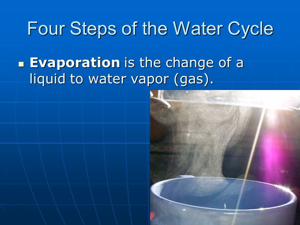 Condensation is the change of water vapor (gas) to a liquid.