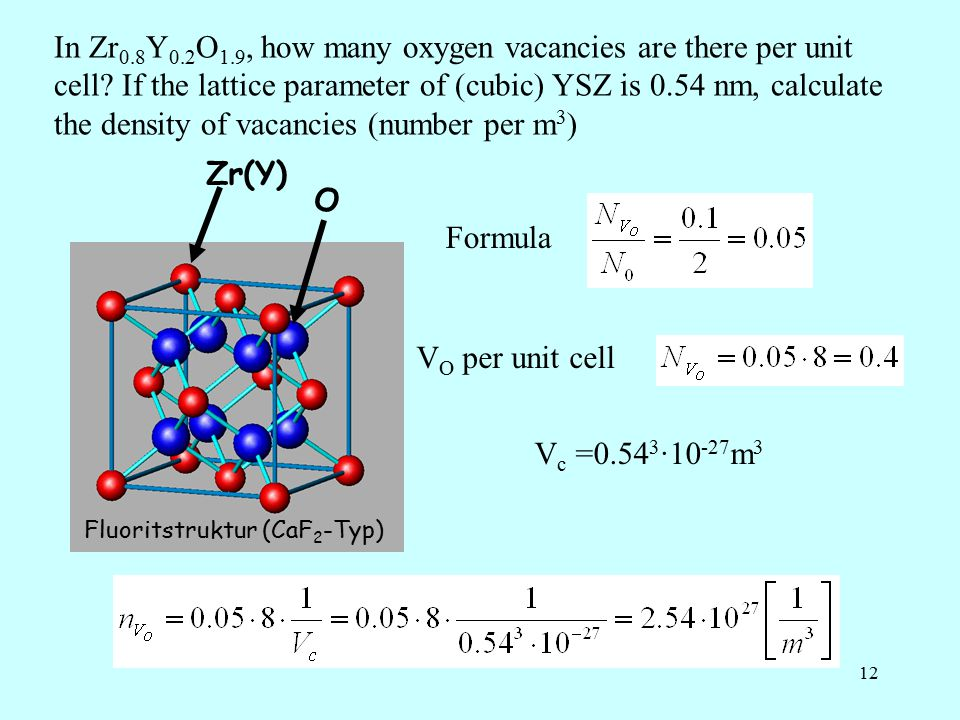 12 In Zr 0.8 Y 0.2 O 1.9, how many oxygen vacancies are there per unit cell.