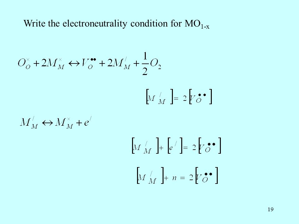 19 Write the electroneutrality condition for MO 1-x
