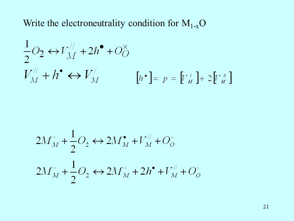 21 Write the electroneutrality condition for M 1-x O