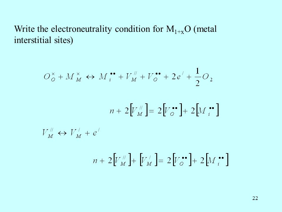 22 Write the electroneutrality condition for M 1+x O (metal interstitial sites)
