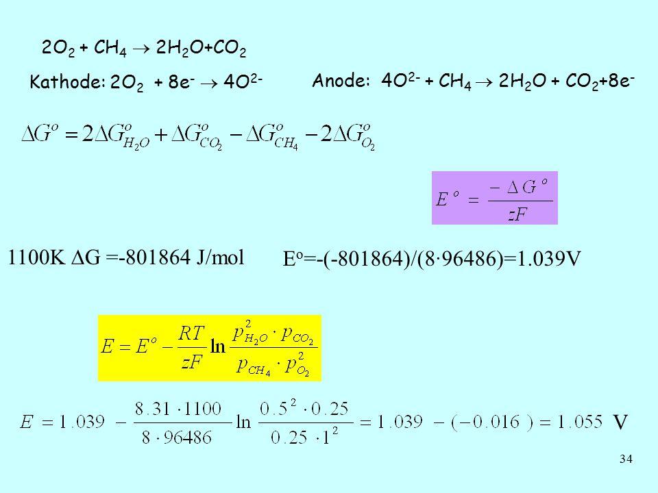 34 2O 2 + CH 4  2H 2 O+CO 2 Kathode: 2O 2 + 8e -  4O 2- Anode: 4O 2- + CH 4  2H 2 O + CO 2 +8e - 1100K  G =-801864 J/mol E o =-(-801864)/(8·96486)