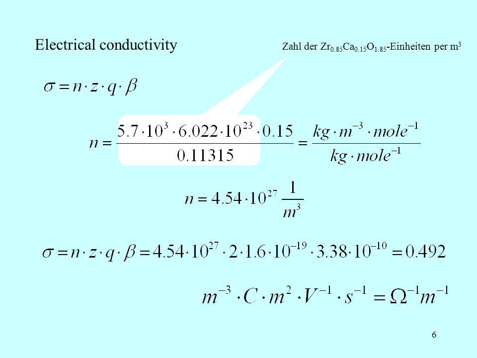 6 Electrical conductivity Zahl der Zr 0.85 Ca 0.15 O 1.85 -Einheiten per m 3