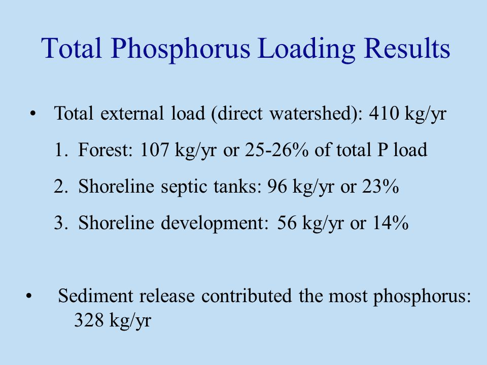 Total external load (direct watershed): 410 kg/yr 1.Forest: 107 kg/yr or 25-26% of total P load 2.Shoreline septic tanks: 96 kg/yr or 23% 3.Shoreline development: 56 kg/yr or 14% Sediment release contributed the most phosphorus: 328 kg/yr Total Phosphorus Loading Results