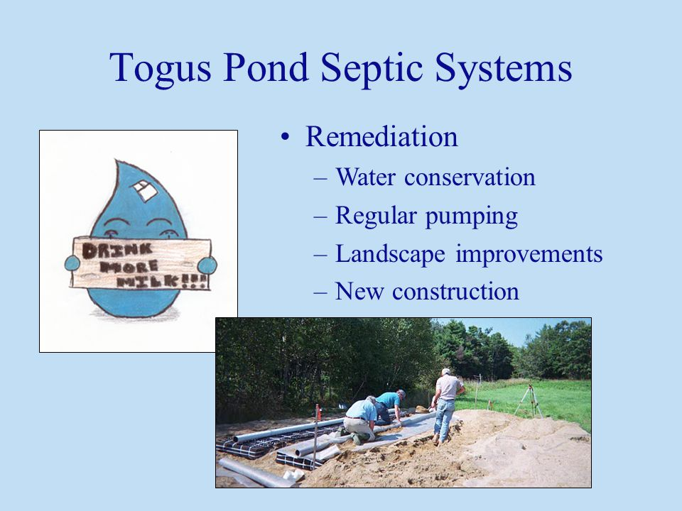 Togus Pond Septic Systems Remediation –Water conservation –Regular pumping –Landscape improvements –New construction