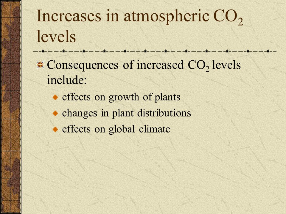 Increases in atmospheric CO 2 levels Consequences of increased CO 2 levels include: effects on growth of plants changes in plant distributions effects on global climate