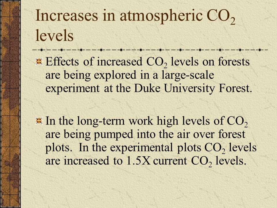Increases in atmospheric CO 2 levels Effects of increased CO 2 levels on forests are being explored in a large-scale experiment at the Duke University Forest.