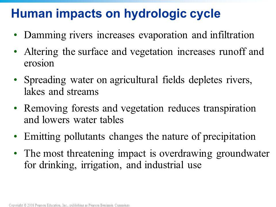 Copyright © 2008 Pearson Education, Inc., publishing as Pearson Benjamin Cummings Human impacts on hydrologic cycle Damming rivers increases evaporati