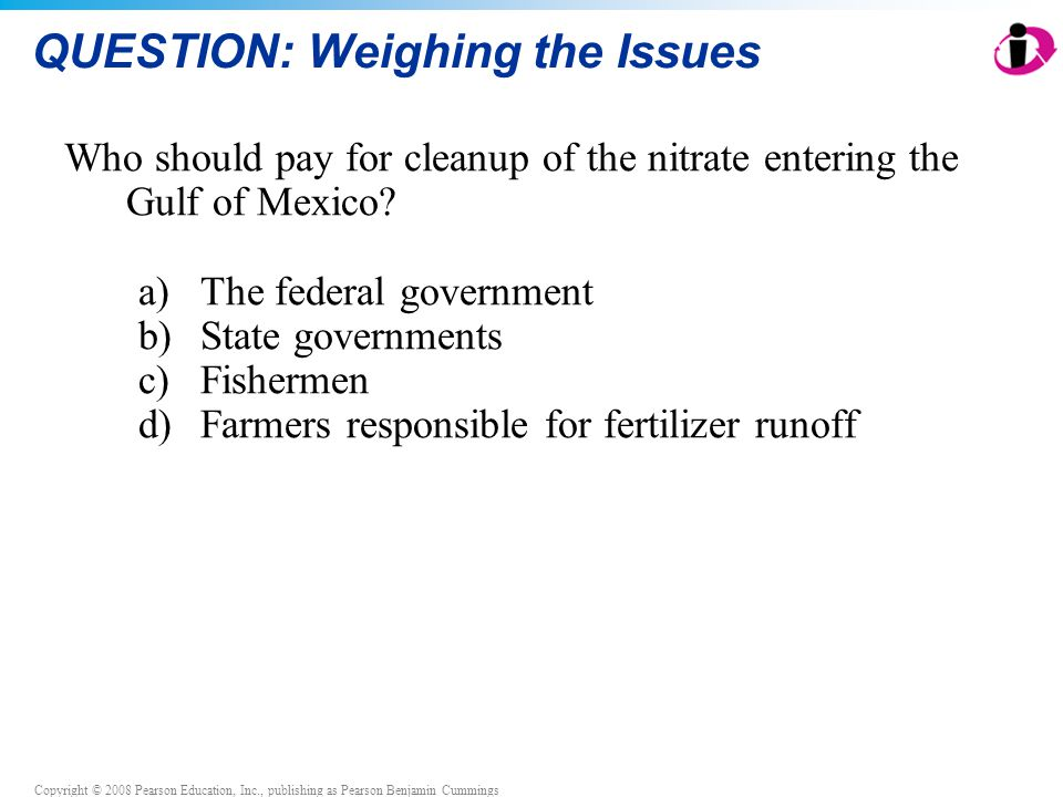Copyright © 2008 Pearson Education, Inc., publishing as Pearson Benjamin Cummings QUESTION: Weighing the Issues Who should pay for cleanup of the nitr
