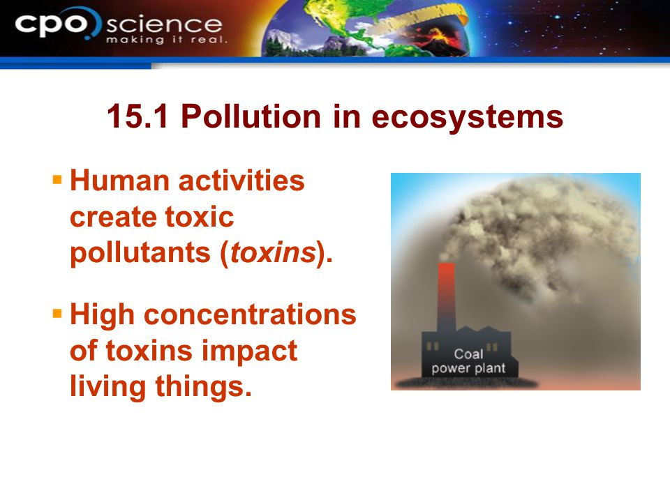 15.1 Pollution in ecosystems  Human activities create toxic pollutants (toxins).