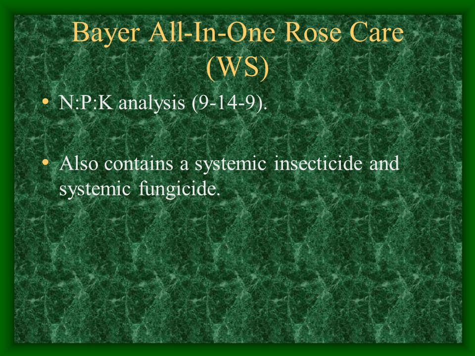 Bayer All-In-One Rose Care (WS) N:P:K analysis (9-14-9).