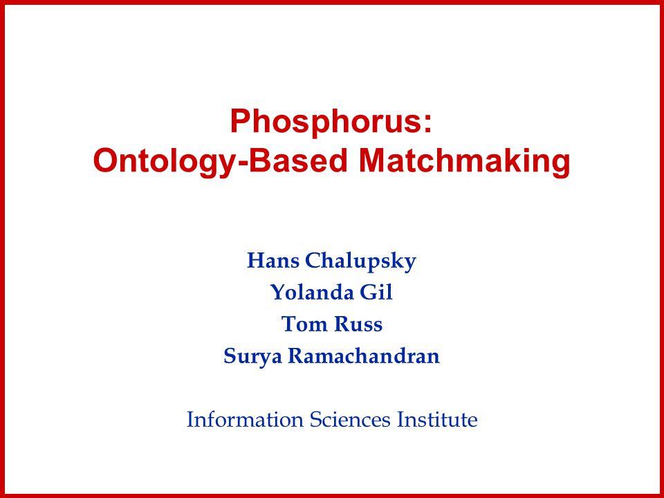 Phosphorus: Ontology-Based Matchmaking Hans Chalupsky Yolanda Gil Tom Russ Surya Ramachandran Information Sciences Institute