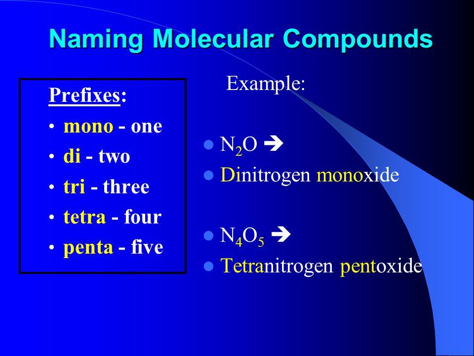 Naming Molecular Compounds Prefixes: mono - one di - two tri - three tetra - four penta - five Example: N 2 O  Dinitrogen monoxide N 4 O 5  Tetranitrogen pentoxide