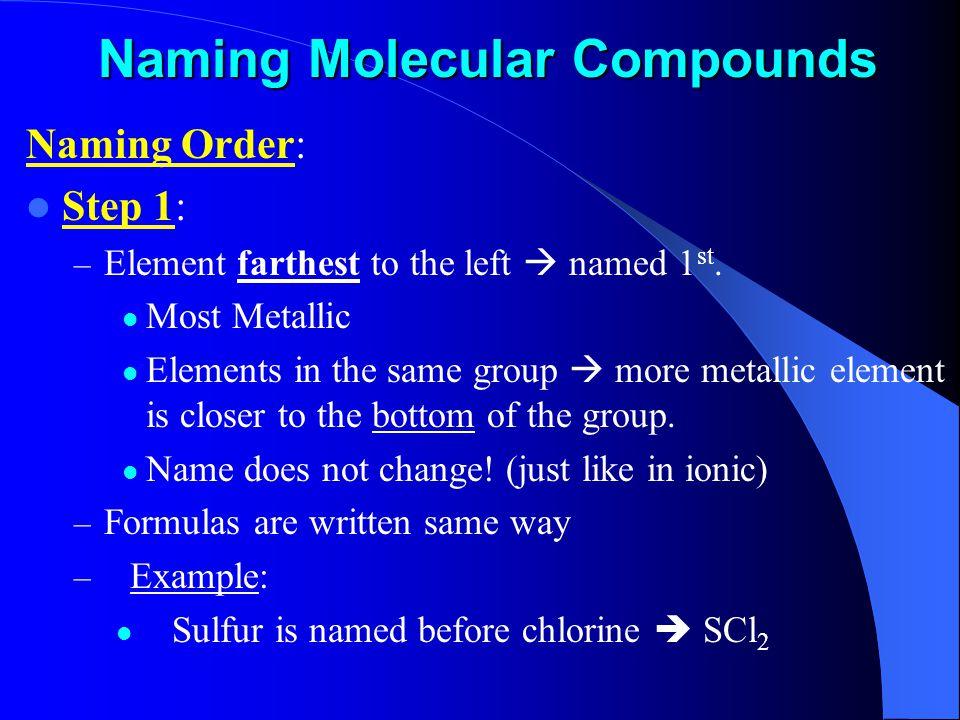 Naming Molecular Compounds Naming Order: Step 1: – Element farthest to the left  named 1 st.