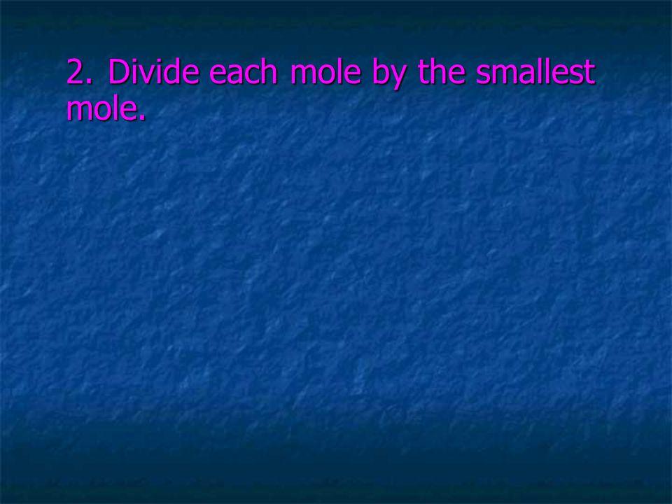2.Divide each mole by the smallest mole.