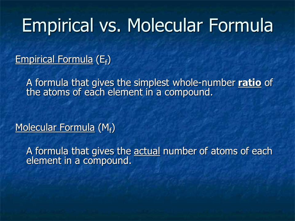 CH 2 O CH 3 OOCH = C 2 H 4 O 2 CH 3 O Molecular Formula (actual) Empirical Formula (simplest) H2O2H2O2H2O2H2O2HO C 6 H 12 O 6 CH 2 O