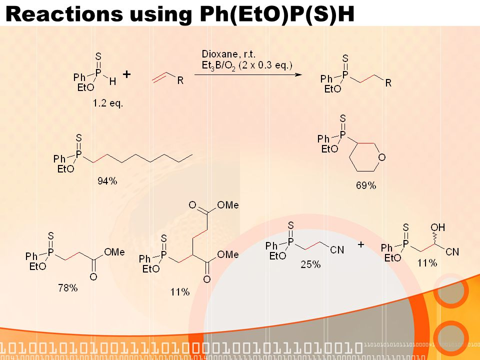 Reactions using Ph(EtO)P(S)H