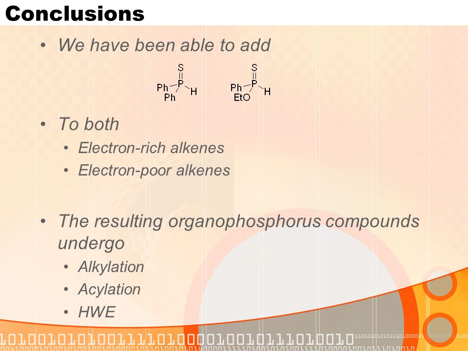 Conclusions We have been able to add To both Electron-rich alkenes Electron-poor alkenes The resulting organophosphorus compounds undergo Alkylation Acylation HWE