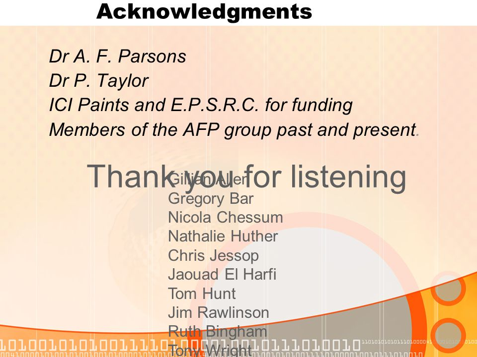 Acknowledgments Dr A. F. Parsons Dr P. Taylor ICI Paints and E.P.S.R.C.