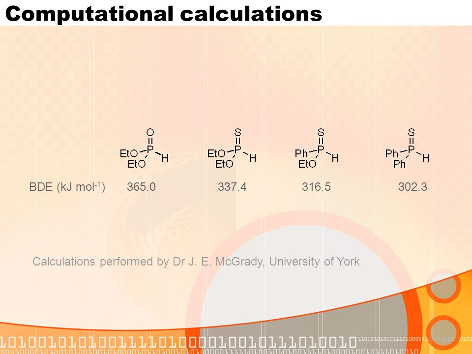 Computational calculations BDE (kJ mol -1 )365.0337.4316.5302.3 Calculations performed by Dr J.